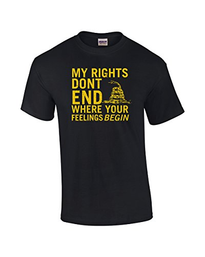 Rights Don't End Where Feelings Begin 2nd Amendment Adult T-Shirt-Black-large