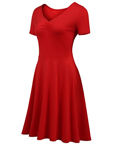 with Short BURLADY Shirt Casual Pocket Sleeve Red V Women's Line A Neck Midi Tunic Fit Dress Loose T Dress aqrazS