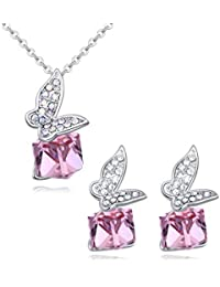 Butterfly Rhodium Plated Pendant Necklace and Earrings Set with Swarovski Crystal