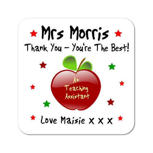 Maisie Moo Gifts Limited Personalised Thank You Teaching Assistant Apple Wooden Coaster Gift