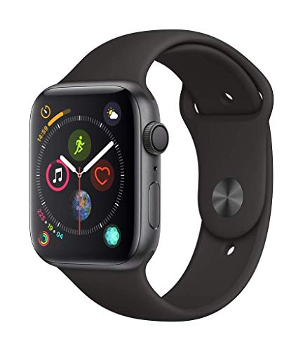Apple Watch Series 4 44mm GPS Only, Space Gray Aluminum - Black Sport Band (Renewed) (Nike Gps Watch Band)