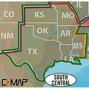 C-MAP LAKE INSIGHT HD – SOUTH CENTRAL US - Coverage Area: AR, KS, LA, MO, MS, OK, TX (Central Maps)