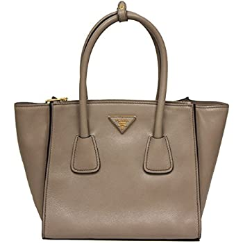 7c1b90e04915 Prada Glance Twins Leather Shopping Tote with Shoulder Strap 1BG625 Pomice  Grey