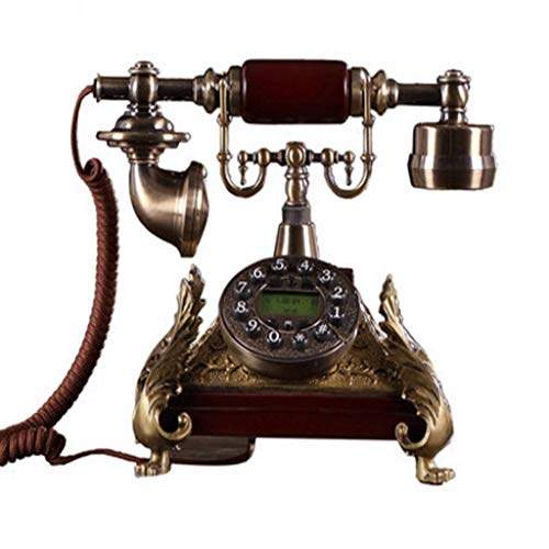 - Health UK Telephone- Classical Vintage Button Dialing Cable Landline Phone Decoration Living Room (Metal + Wood) Welcome