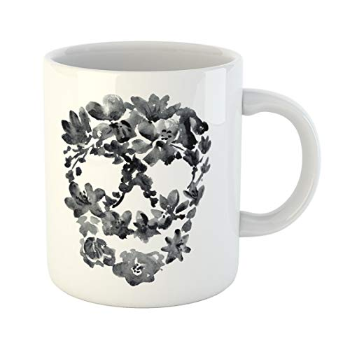 (Semtomn Funny Coffee Mug White Watercolor Black Skull Flowers Drawing Halloween Silhouette Floral 11 Oz Ceramic Coffee Mugs Tea Cup Best Gift Or)