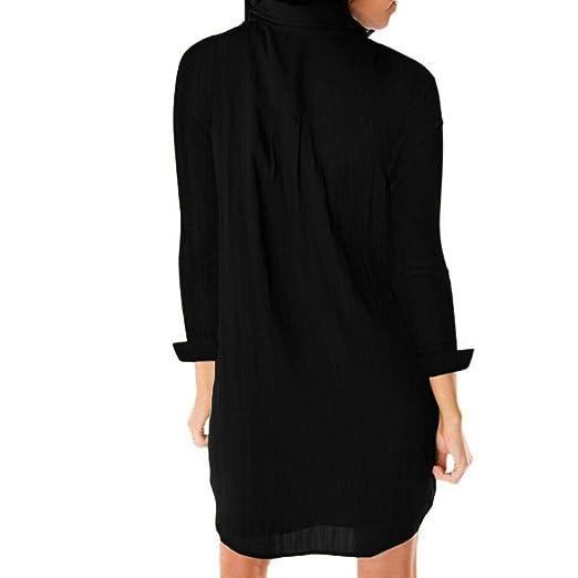Fuxitoggo Botón Abotonado Casual para Mujer, Manga Larga, Tops, Vestido con Bolsillo (Color : Negro, tamaño : Large): Amazon.es: Hogar