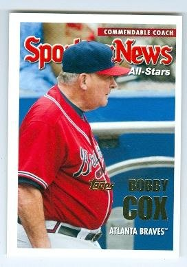 Bobby Cox baseball card (Atlanta Braves Hall of Fame Manager) 2005 Topps #UH172 All Star ()