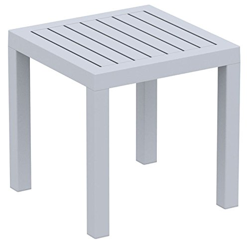 - Compamia Ocean Square Resin Patio Side Table Silver Gray, Commercial Grade