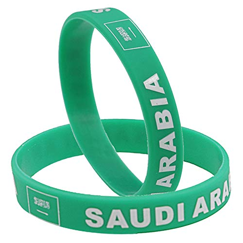 IDL World Cup Silicone Wristband, 2018 Russian World Cup Sports, Flag Bracelet | 2-Piece Set | 32 Countries Available | Unisex Design, Soft and Durable Wristbands, Non-Toxic (SAUDI ARABIA)