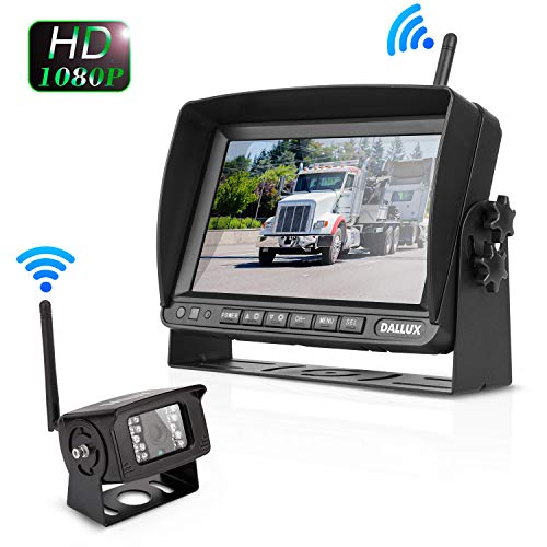 Truck Bus Digital Wireless Backup Camera Monitor System Kit, 7 inch DVR Monitor HD IP69K Waterproof Night Vision Rear View Reverse Camera for Van Trailer 5th Wheel Pickup RV Campers Motor Home Boat