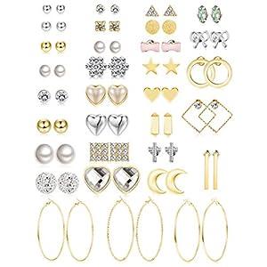 Jstyle 32 Pairs Assorted Multiple Stud Earrings for Women Simple Cute Big Hoop Earrings Set