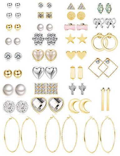 Jstyle 32 Pairs Assorted Multiple Stud Earrings for Women Girls Simple Cute Big Hoop Earrings Set (A: 32pairs)