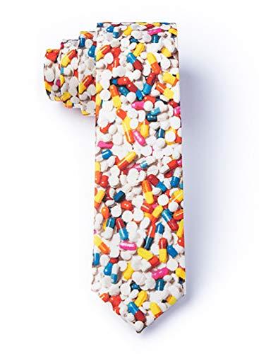 Pill Poppin' White Microfiber Skinny Tie