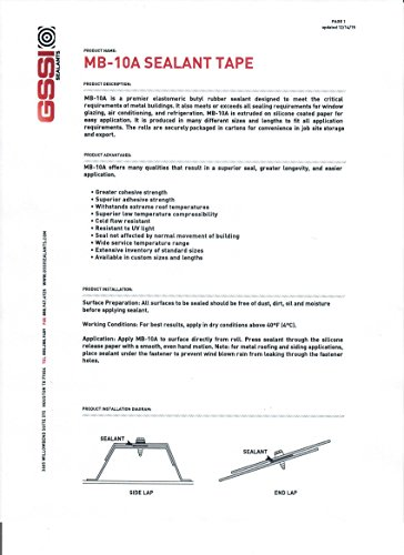 GSSI Sealants Butyl Tape 1/8'' x 1'' x 40' White (10 Rolls) by GSSI Sealants (Image #1)