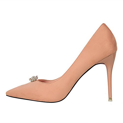 Aalardom Dames Berijpte Spikes-stilettos Puntige Instap Pumps-schoenen Roze
