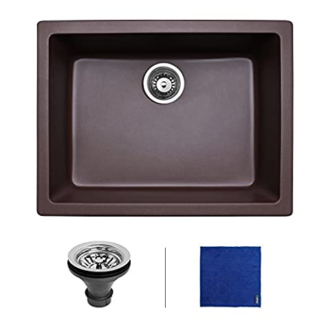 Enbol GSS-2418 24 inch Farmhouse Apron Front Single Bowl Undermount Granite Kitchen Sink Cafe Brown (Brown Granite Kitchen Sinks)