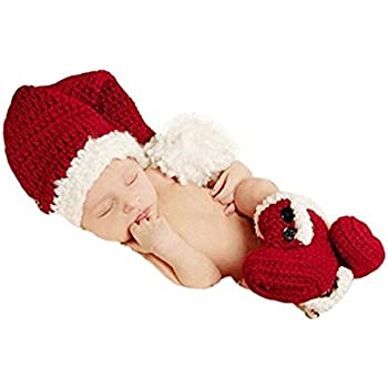 64562c4ff7901 Christmas Newborn Baby Photo Shoot Props Outfits Crochet Clothes Santa  Claus Red Hat Boots Photography Props