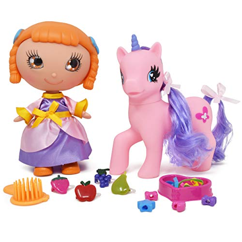 Little Unicorn Pony Doll, Doll Hair Accessories Set Includes Mini Pony Doll Toy with Glittery Eyes, Fairy Dress, Unicorn Pony with Hair Styling Accessories - Hair Brush, Rubbers, Hair Beads and Clips