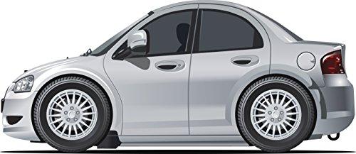 Shinobi Stickers Silver Shiny Sexy Luxury Sedan Car Cartoon Vinyl Sticker  12  Wide