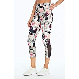 Jessica Simpson Sportswear Ace Pocket Capri Legging, Photoreal Floral Stripe, Medium