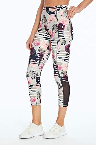 Jessica Simpson Sportswear Ace Pocket Capri Legging, Photoreal Floral Stripe, Medium