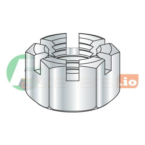 Carton: 500 pcs 1//2-20 Slotted Hex Nuts//Steel//Zinc
