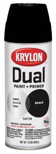 Krylon 8823 'Dual' Satin Black Paint and Primer - 12 oz. Aerosol by The Sherwin-Williams Company (HI) ()