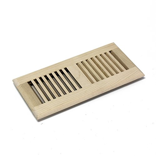 WELLAND 4 Inch x 12 Inch Maple Hardwood Vent Floor Register Self Rimming Unfinished