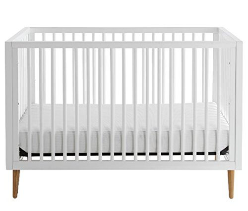 Cheap 3-in-1, Easy-to-Assemble, Roscoe Convertible Crib –  Built-In Hardware, Mid Century Modern Design, 3 Mattress Height Positions, White
