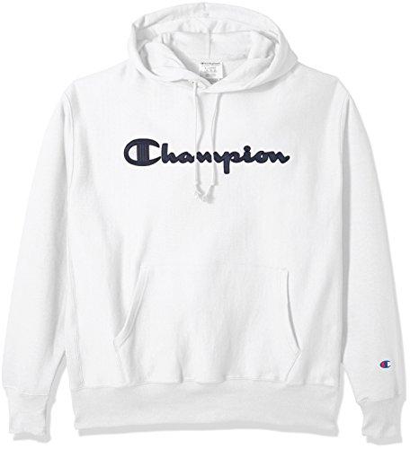 Champion LIFE Men's Reverse Weave Pullover Hoodie, White/Champion Script, XL