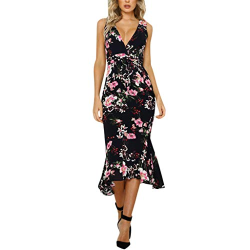 LYN Star ◈ Women's Wrap V Neck Spaghetti Strap Floral Split Beach Casual Dress Summer Bohemian Down Swing Midi Dress Black