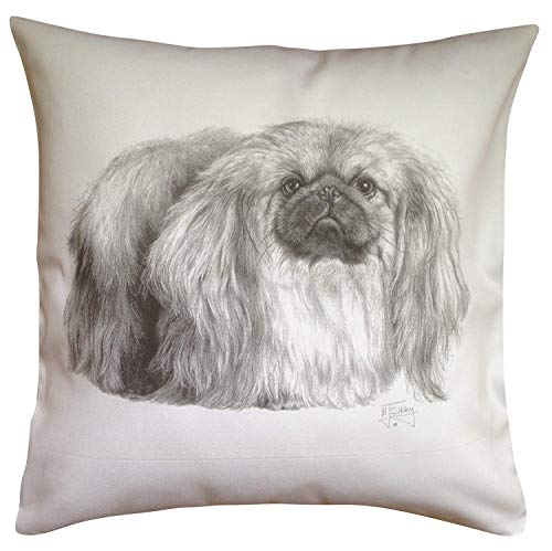 Pekingese Pillow - Yohoba Pekingese MS Breed of Dog Themed Cotton Linen Cushion Cover Home Decorative Throw Pillowcases Covers Sofa Couch Square 18