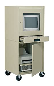 Edsal CSC6900PU 21-Inch Wide by 22-1/2-Inch Deep by 59-1/2-Inch High Mobile Enclosed Computer Cabinet, Putty