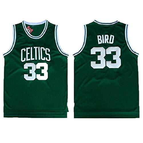 Men's Bird Jersey 33 Basketball Jerseys Larry Jersey Green(S-XXL) (S)