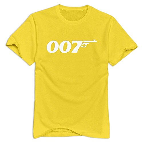 Yellow VAVD Mens James Bond 007 Short Sleeve T-shirt Size L