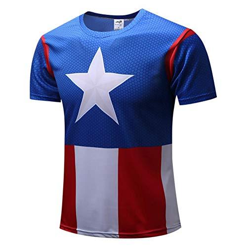 Men's Slim Dri Fit Athletic Gym Tee Captain America Running Shirt M -