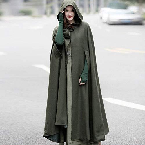 Femme Capuche Manteau Veste Longe Automne Casual Cape Party Hiver Chaude Costume Cosplay Gris Petalum Châle TEqXXw