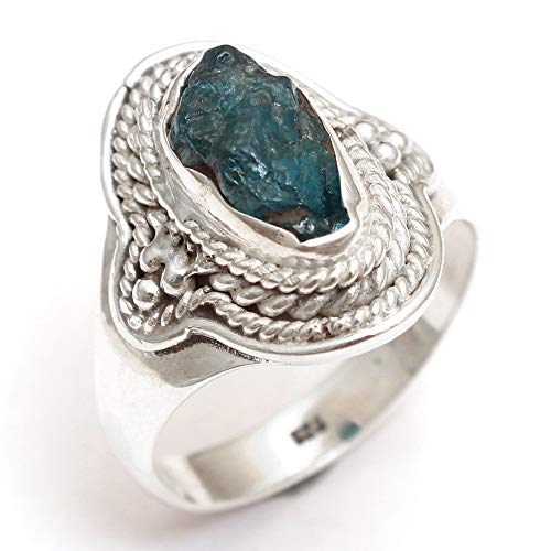 Rough Shape Apatite Gemstone Ring 925 Sterling Silver Men's Ring Designer Ring Antique Ring Silver Jewelry ()