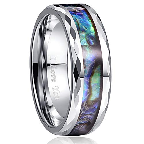 VAKKI 8mm Abalone Shell Tungsten Carbide Promise Ring for Him Her Polished Faceted Edges Size 13