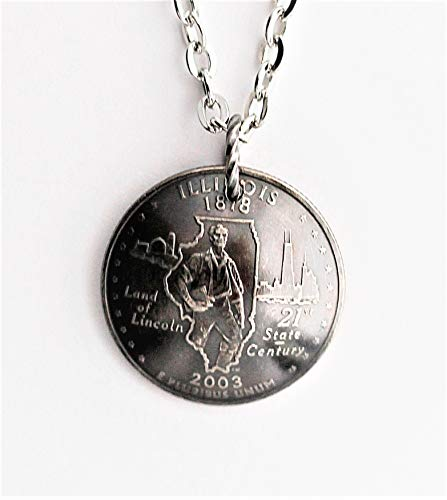 Domed Coin State Quarter Necklace Illinois Pendant 2003