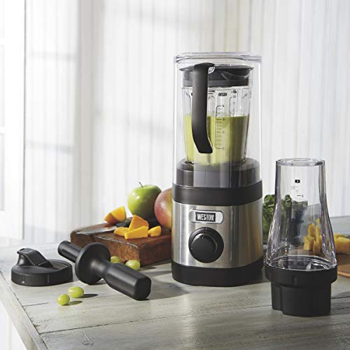 Weston Sound Shield Pro Series 1.6hp Blender with 32oz 20oz Blend-in Personal Jar, Variable Speed Dial for Puree, Ice Crush, Shakes and Smoothies, Black and Stainless Steel 58918
