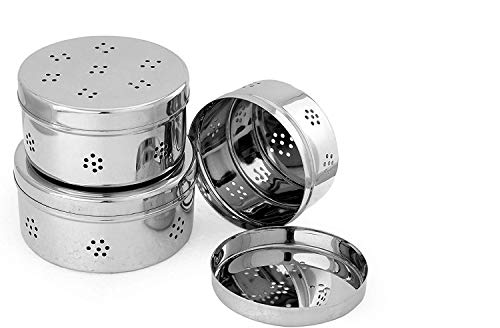 Dharam Paul Traders™ Stainless Steel Coriander Storage Box Curry Leaves Box,Set of 3. Price & Reviews