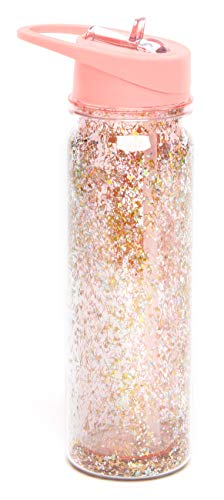 ban.do Women's Glitter Bomb Water Bottle with Straw, 16 Ounces, Pink Stardust