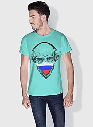 Creo Russia Skull T-Shirts For Men - L, Green