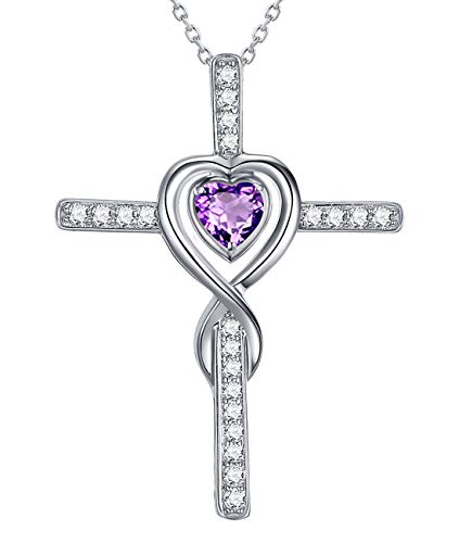 Cross Pendant Amethyst - Mothers Day Love Infinity Cross Necklace Gifts for Mom Sterling Silver Jewelry LC Purple Amethyst Necklace Anniversary Birthday Gifts for Women for Her Wife Girlfriend Grandma 20