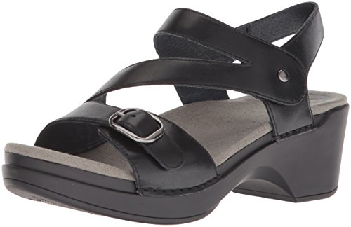Dansko Women's Shari Flat Sandal, Black Full Grain, 39 M EU (8.5-9 US) by Dansko