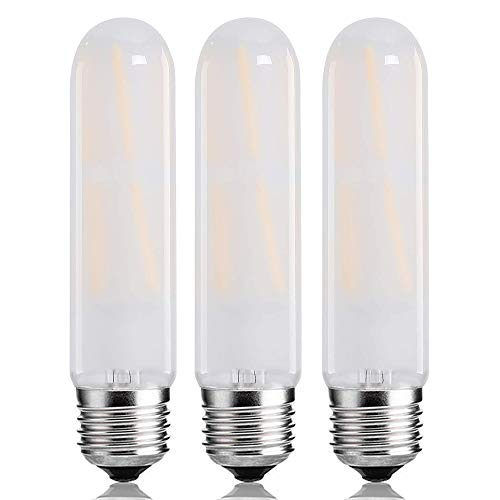 - T10 Frosted Bulbs,8W Dimmable Edison Led Tubular Bulb,E26 Medium Base Lamp 75 Watt Incandescent Bulb Equivalent 3000K Soft White,Frosted Glass Shape Appliance Light Bulbs,3 Pack.