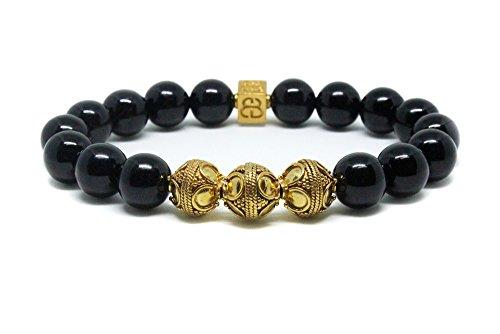 Men's Black Onyx and Gold Beads Bracelet, Men's Luxury Bracelet, Men's Gold Bracelet by Kartini Studio