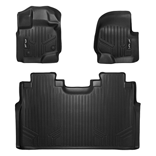 First Row Seats - SMARTLINER Floor Mats 2 Row Liner Set Black for 2015-2018 Ford F-150 SuperCrew Cab With 1st Row Bucket Seats