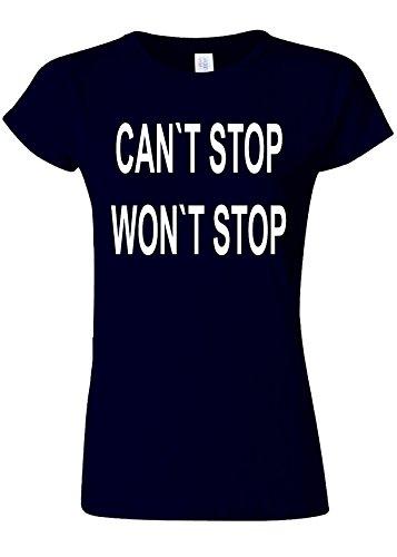 落ち着いて戦艦スクラップブックCan`t Stop Won`t Stop Gym Novelty Navy Women T Shirt Top-XXL